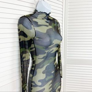 Forever 21 Sheer See Through Camo Dress Size Small